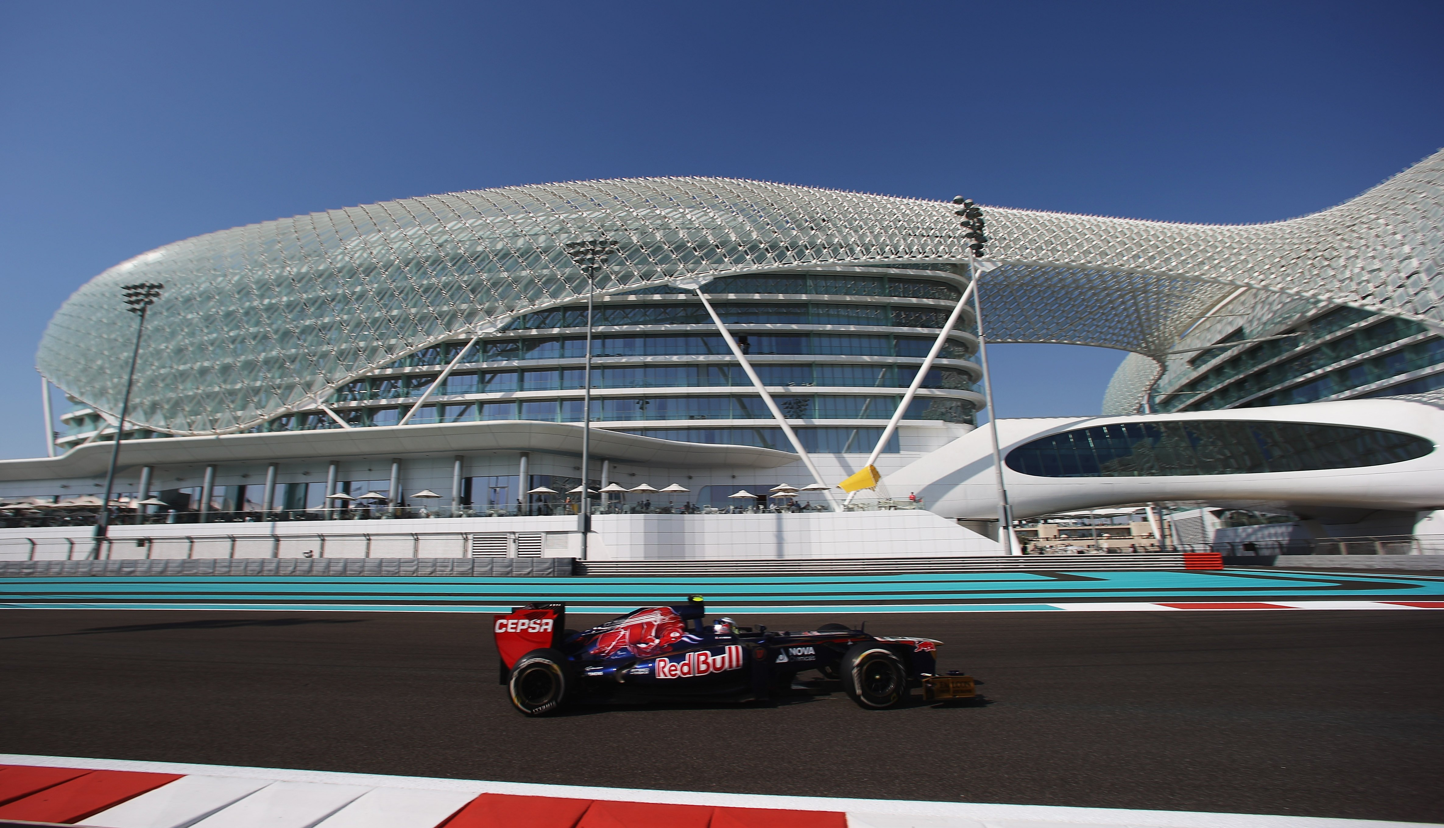 ABU DHABI, UNITED ARAB EMIRATES - NOVEMBER 02:  Jean-Eric Vergne of France and Scuderia Toro Rosso drives during practice for the Abu Dhabi Formula One Grand Prix at the Yas Marina Circuit on November 2, 2012 in Abu Dhabi, United Arab Emirates.  (Photo by Mark Thompson/Getty Images) *** Local Caption *** Jean-Eric Vergne