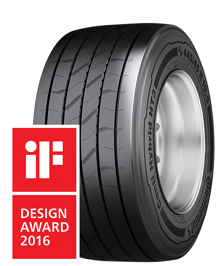 "Conti Hybrid HT3 445/45 R 19.5 Pneumatico Trattivo  iF Design Award in the ""Product"" category."